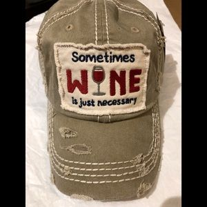 Sometimes WINE is just necessary distressed hat